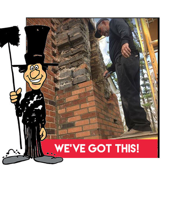Repairing the masonry of a chimney by Luce's Chimney & Stove Shop, CSIA certified chimney repair pros.