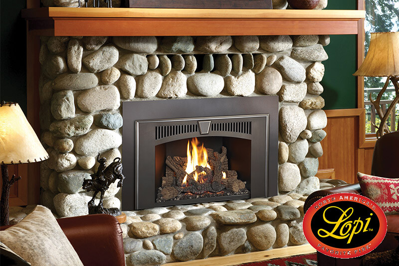 Gas fireplace Inserts by Lopi, made in the USA, sales, installation and parts available at Luce's Chimney and Stove Shop, serving Ohio, Michigan and Indiana.