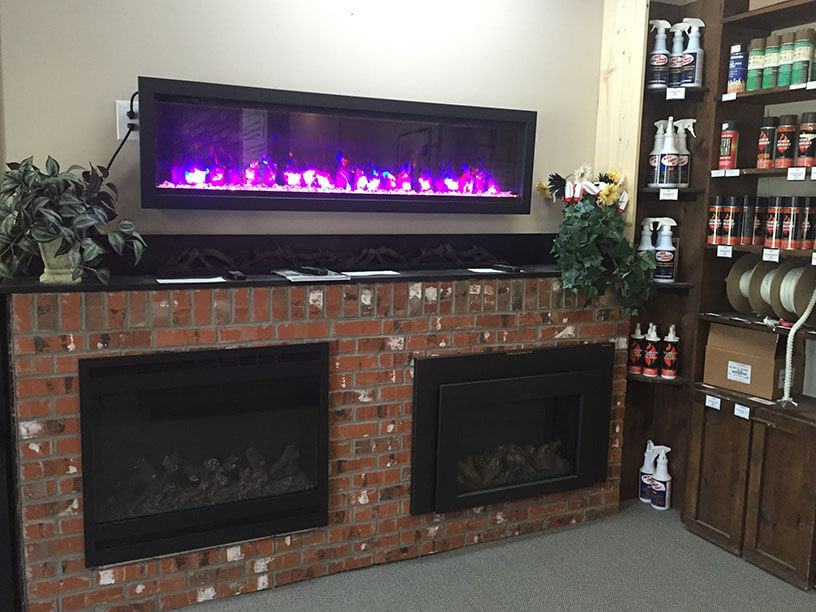 A look inside Luce's Chimney and Stove Shop's Toledo fireplace store, fireplace inserts and linear fireplace.