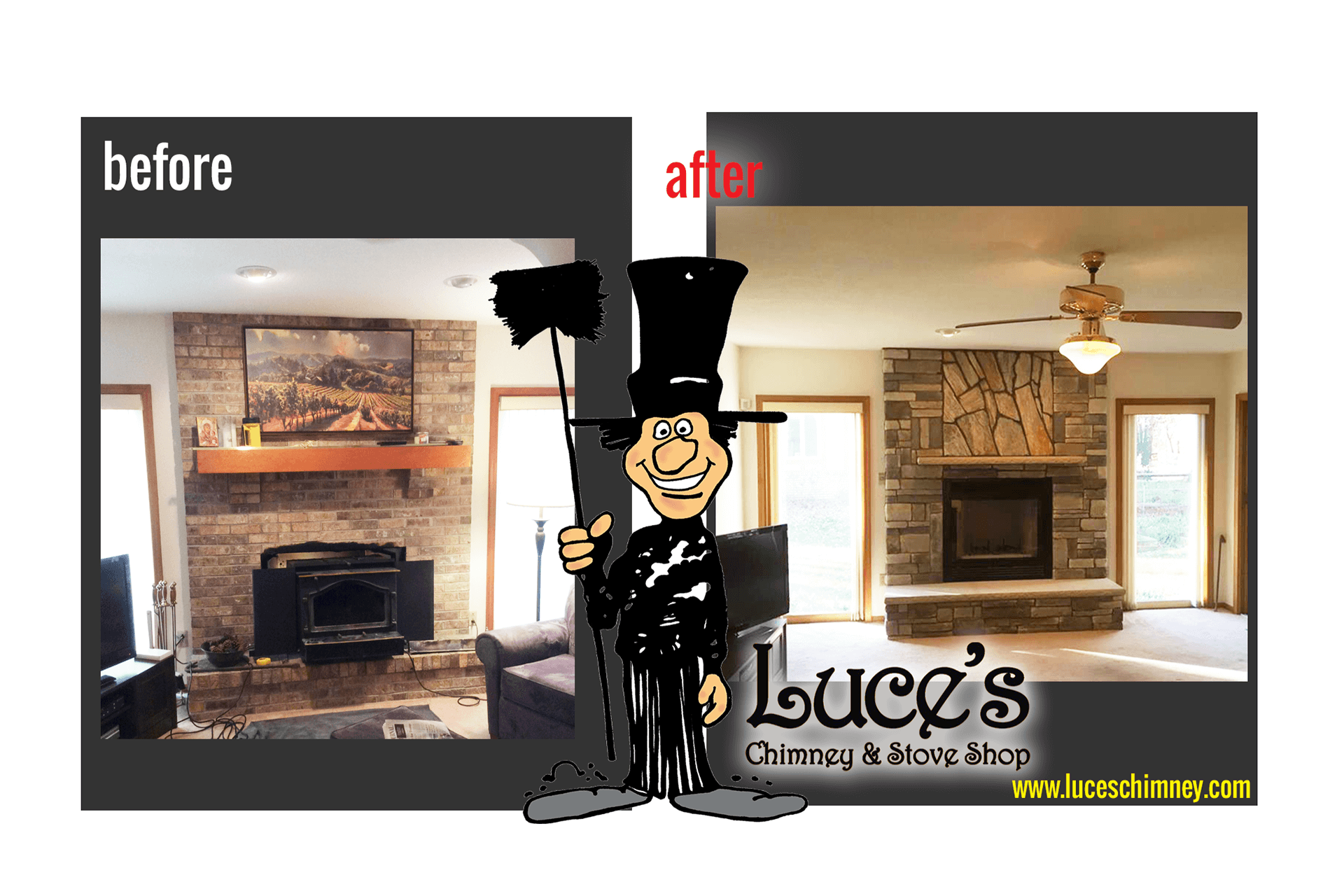 Custom fireplace stonework construction, before and after pictures for fireplace remodels, by Luce's Chimney & Stove Shop.