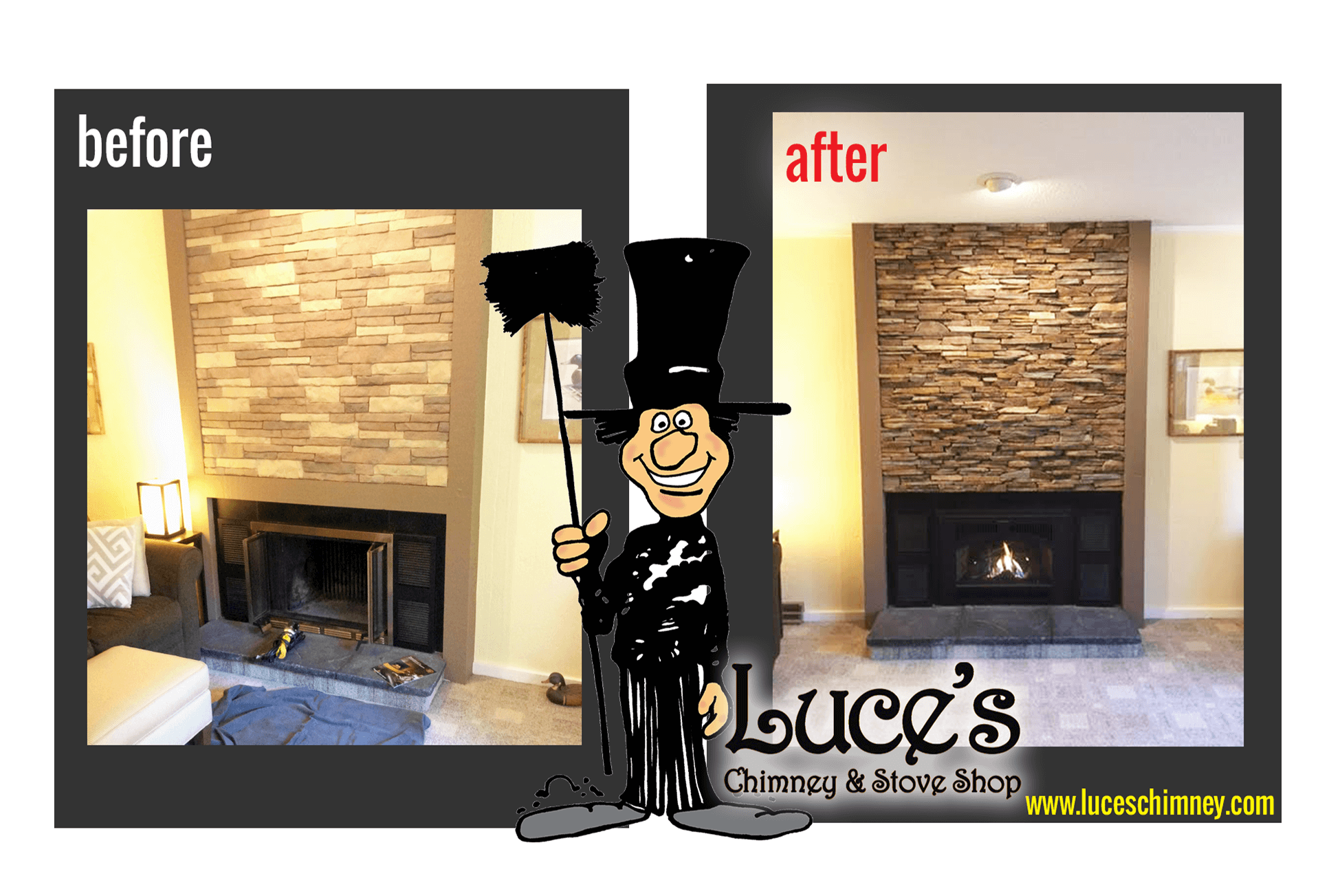 Fireplace updates, before and after fireplace remodeling and custom fireplace stonework by Luce's Chimney & Stove Shop in Swanton OH, serving Ohio, Michigan and Indiana.