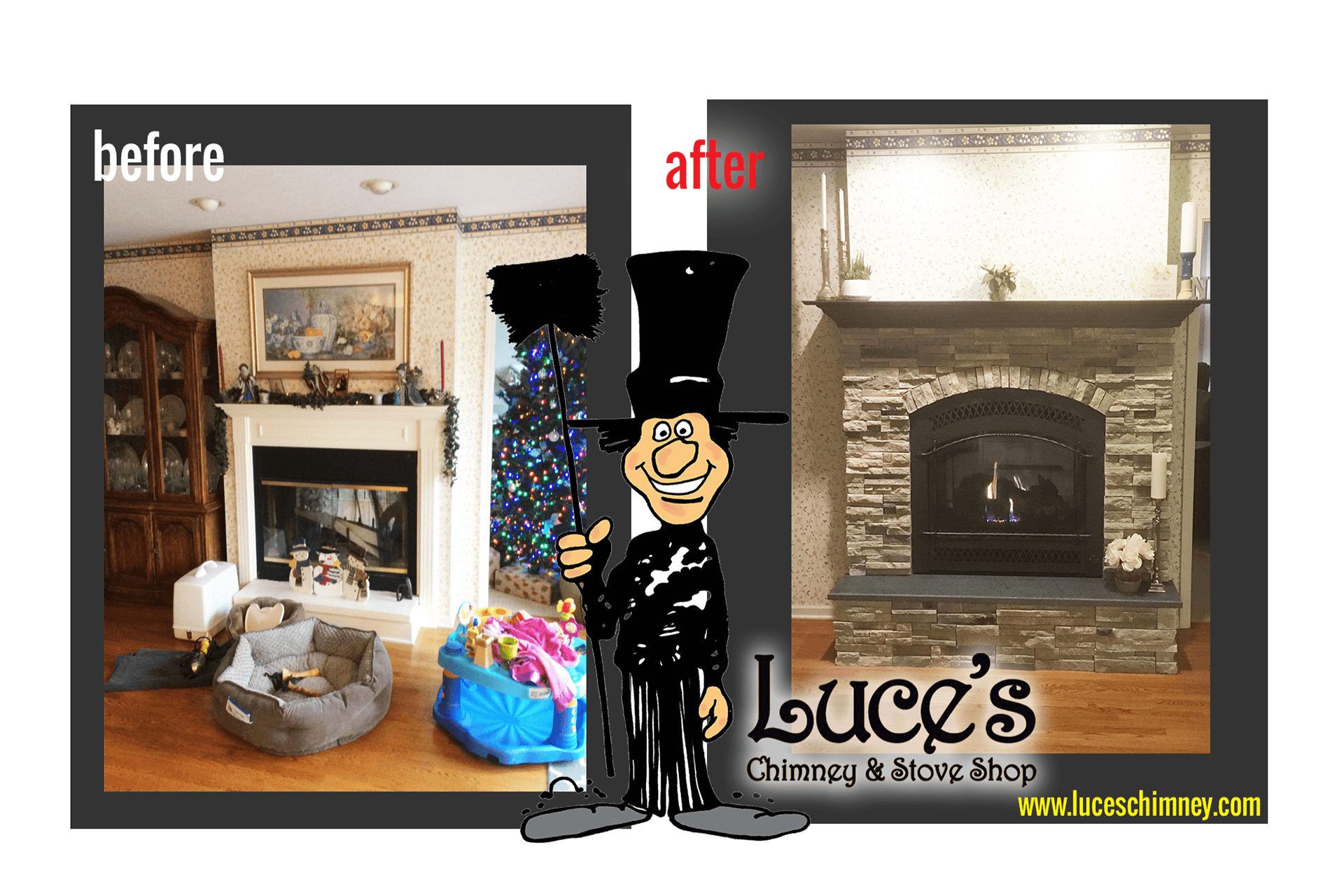 Fireplace remodeling ideas, a before & after updated fireplace, including custom fireplace rock, from Luce's Chimney & Stove Shop.