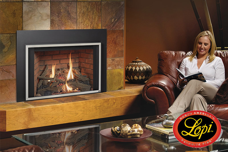 Gas fireplaces by Lopi, made in the USA, sales and installation available at Luce's Chimney and Stove Shop, serving Ohio, Michigan and Indiana.