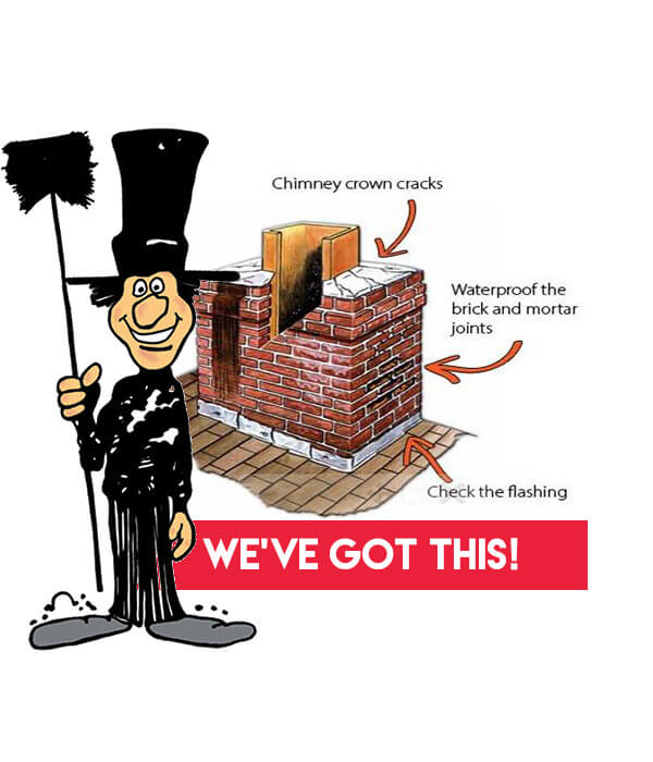 Areas of chimney that show why a chimney could be leaking. Luce's Chimney will inspect your chimney to discover what is causing your chimney leaks and offer certified chimney repairs.